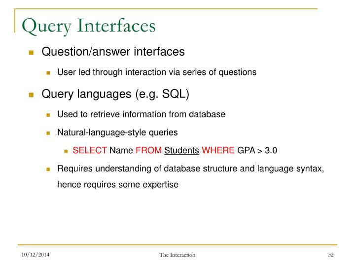 Query Interfaces