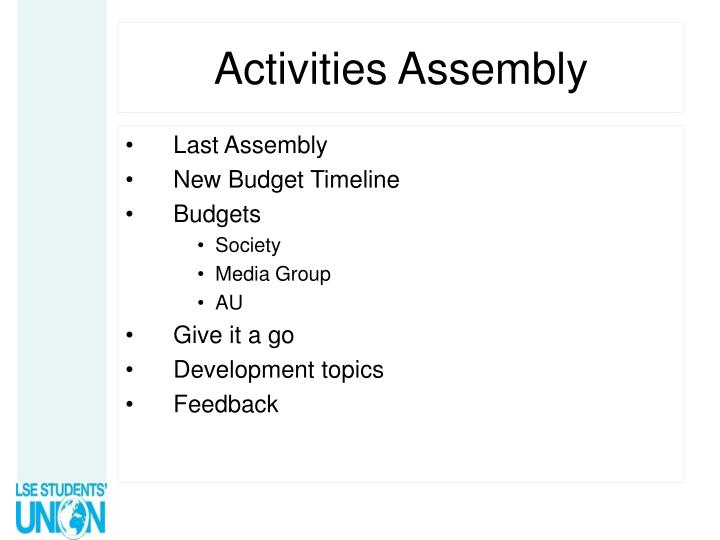 activities assembly n.