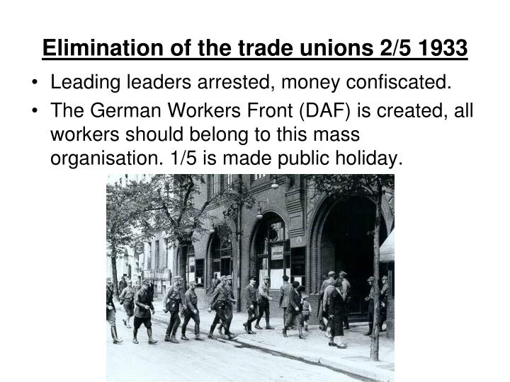 Elimination of the trade unions 2/5 1933