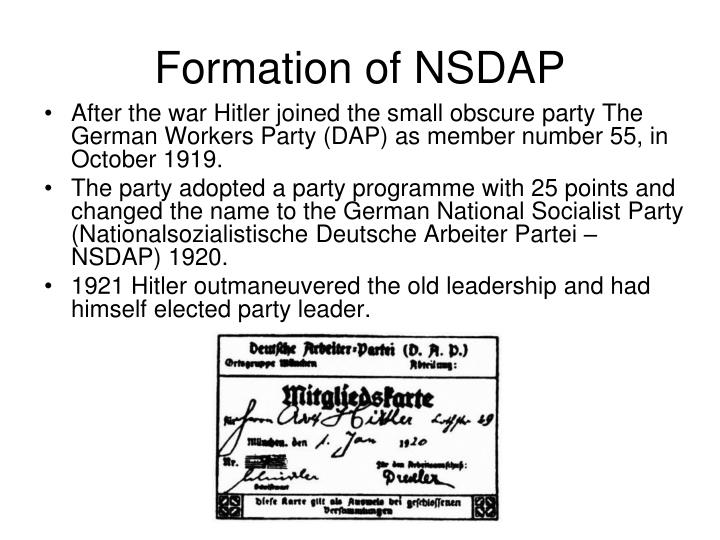 Formation of NSDAP