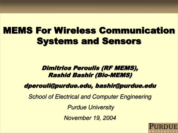 PPT - MEMS For Wireless Communication Systems and Sensors PowerPoint