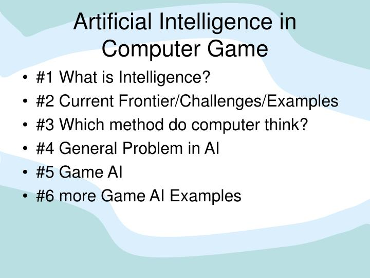 artificial intelligence in computer game n.