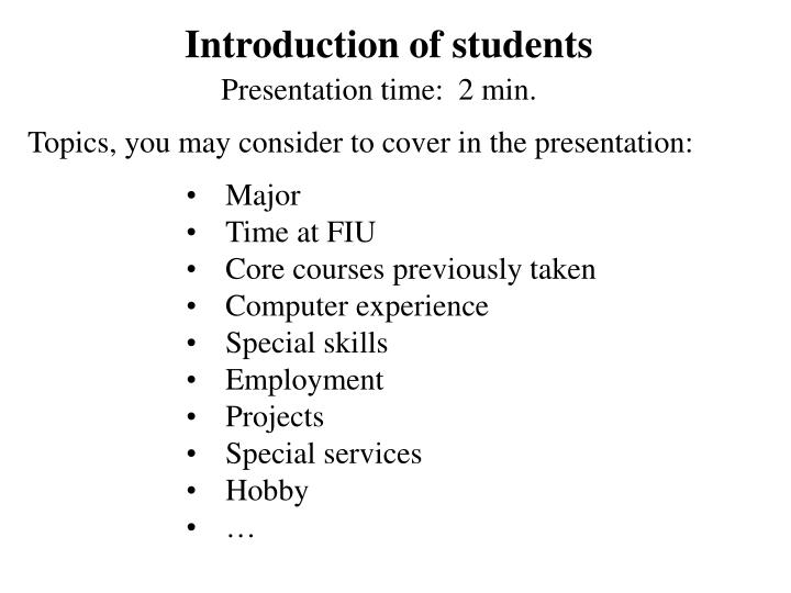 introduction of students n.