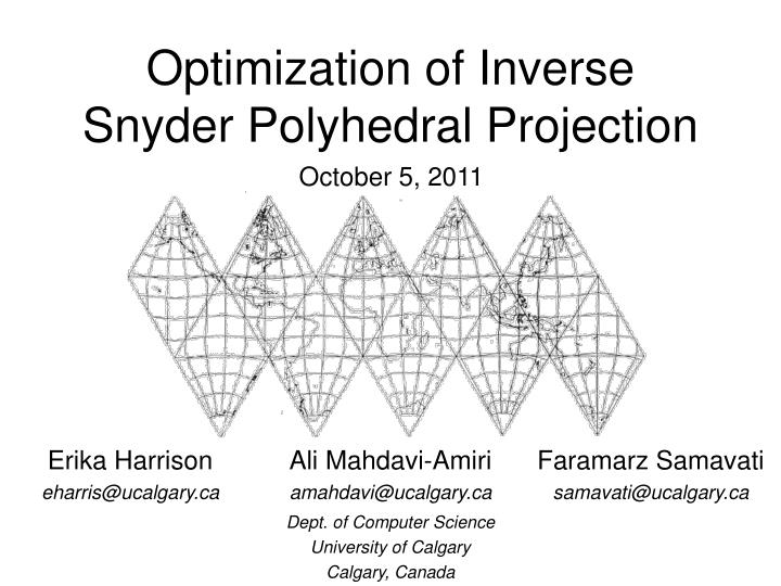 optimization of inverse snyder polyhedral projection n.