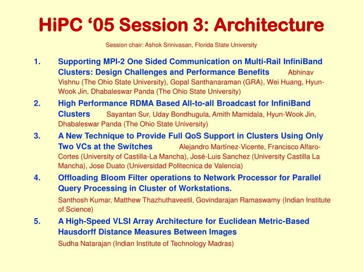 hipc 05 session 3 architecture n.