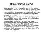 universities defend