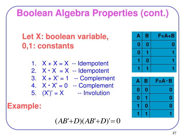Boolean Algebra Properties (cont.)