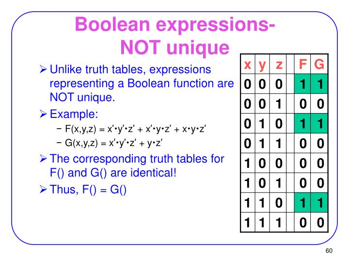 Boolean expressions-