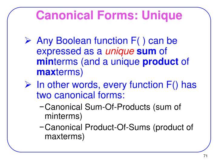 Canonical Forms: Unique