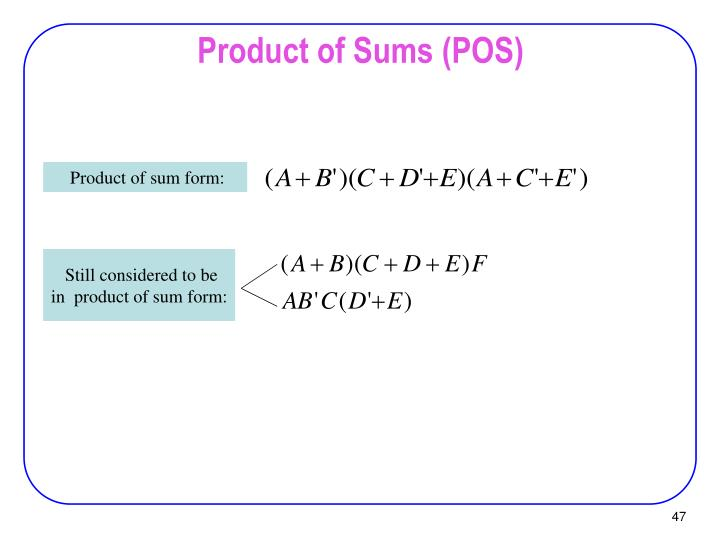 Product of Sums (POS)