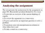 analyzing the assignment