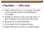 checklist apa style