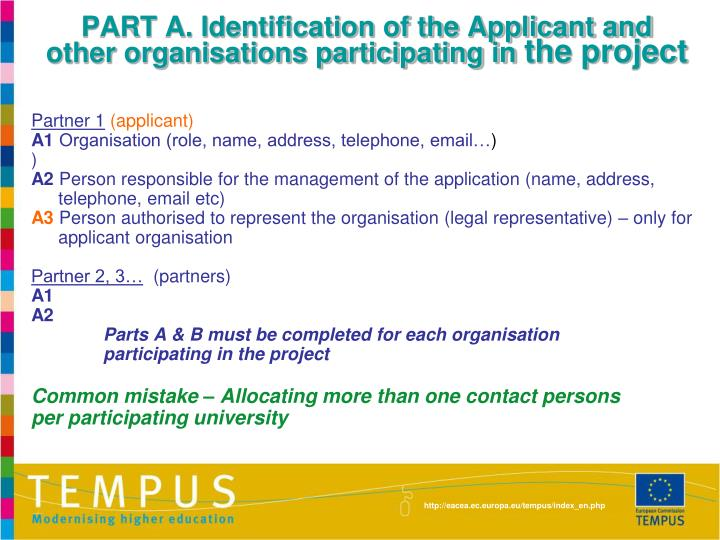 PART A. Identification of the Applicant and other organisations participating in