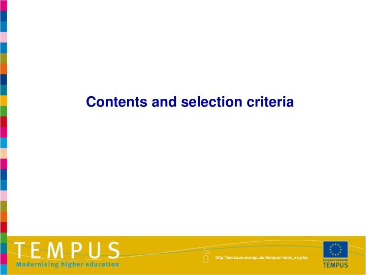 Contents and selection criteria