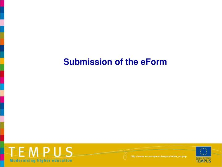 Submission of the eForm