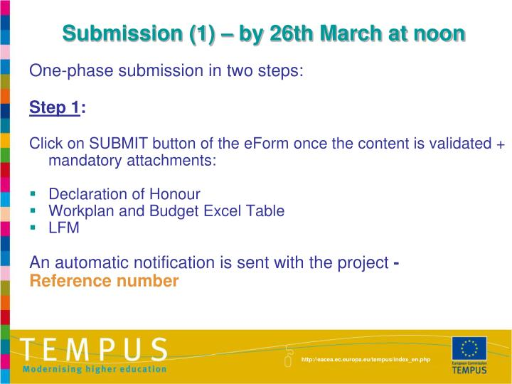 Submission (1) – by 26th March at noon