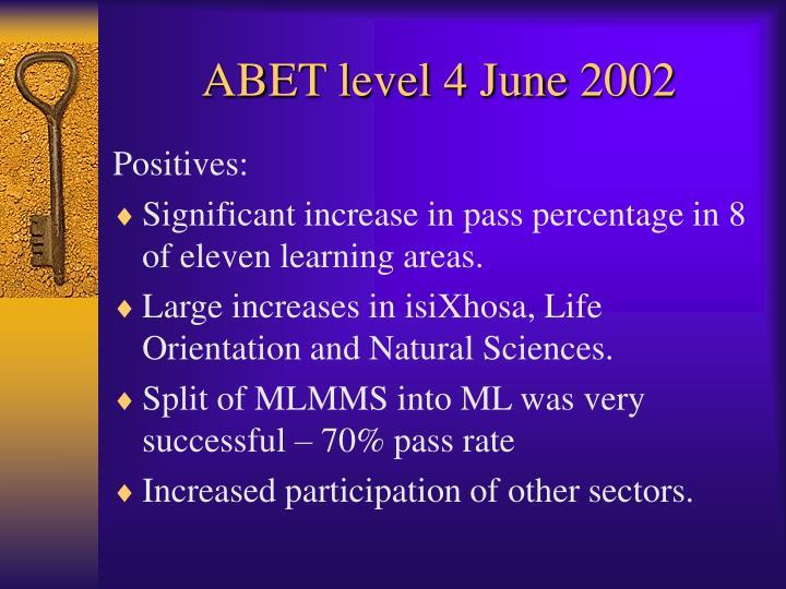 Abet level 4 june 20021