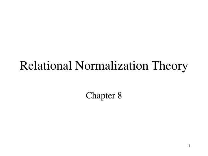relational normalization theory n.