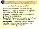 accreditation board for engineering and technology abet