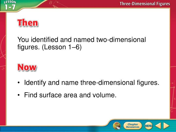 You identified and named two-dimensional figures. (Lesson 1–6)