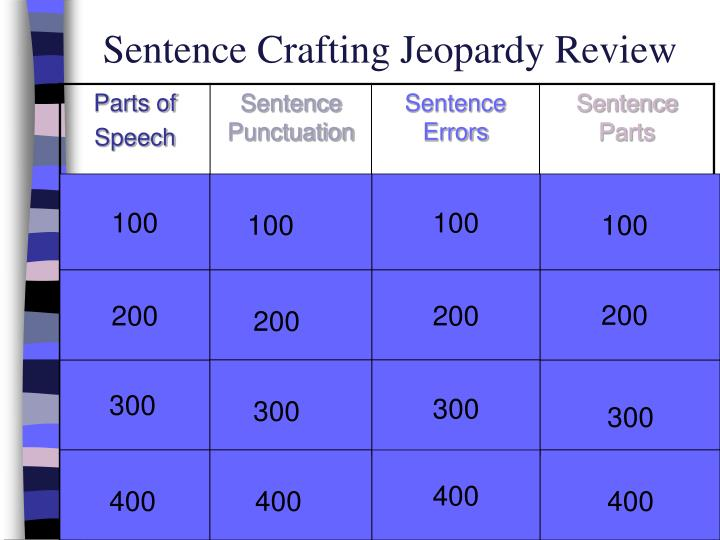 sentence crafting jeopardy review n.