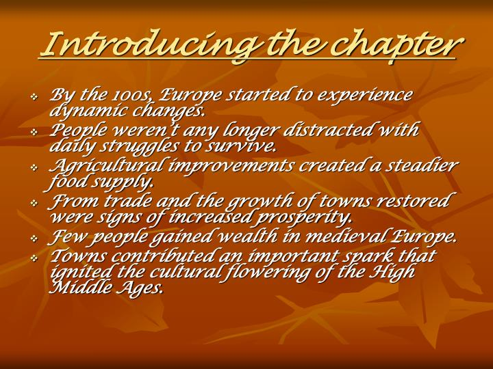 Introducing the chapter