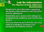 lab 8a information the physical activity adherence questionnaire