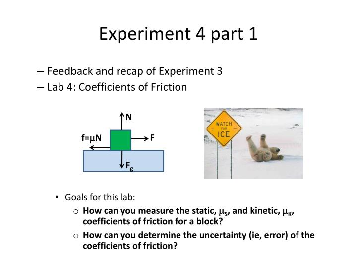 an experiment to determine the coefficient Experimental determination of the friction experimental determination of the friction coefficient 5 we can determine the.