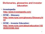 dictionaries glossaries and investor education