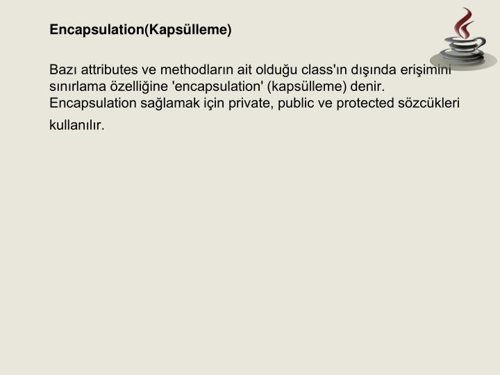 Encapsulation(Kapsülleme)