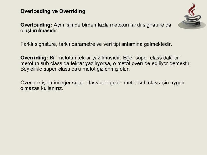 Overloading ve Overriding