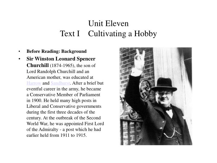 unit eleven text i cultivating a hobby n.