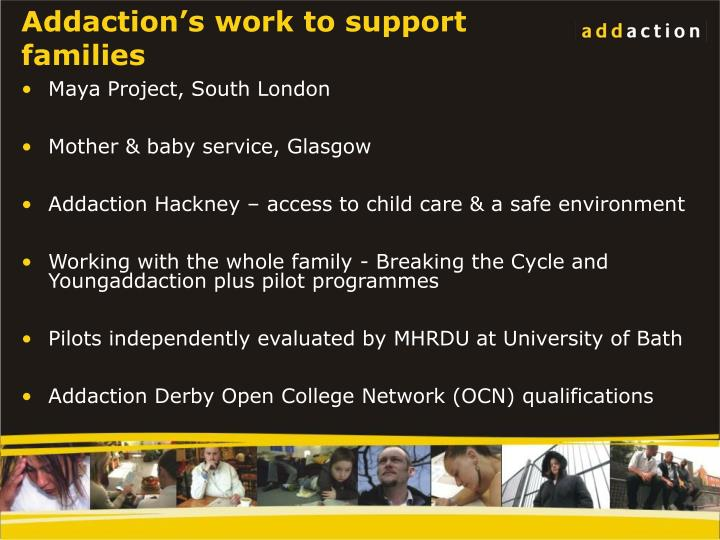 Addaction's work to support families