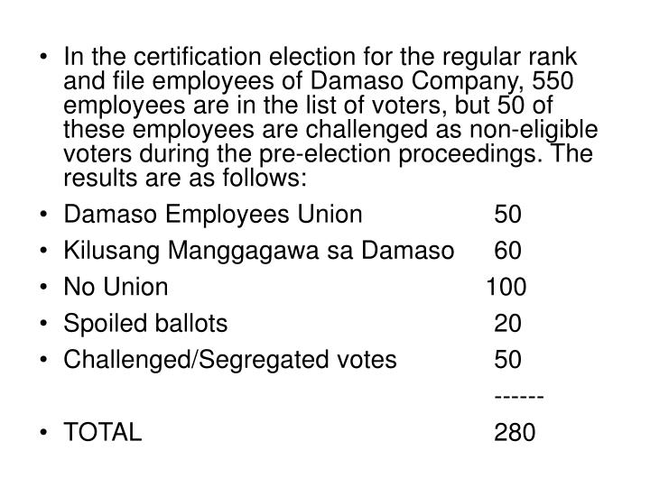 In the certification election for the regular rank and file employees of Damaso Company, 550 employees are in the list of voters, but 50 of these employees are challenged as non-eligible voters during the pre-election proceedings. The results are as follows: