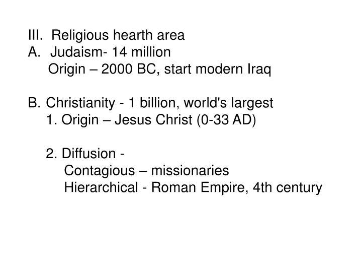 III.  Religious hearth area