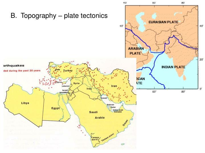 B.  Topography – plate tectonics