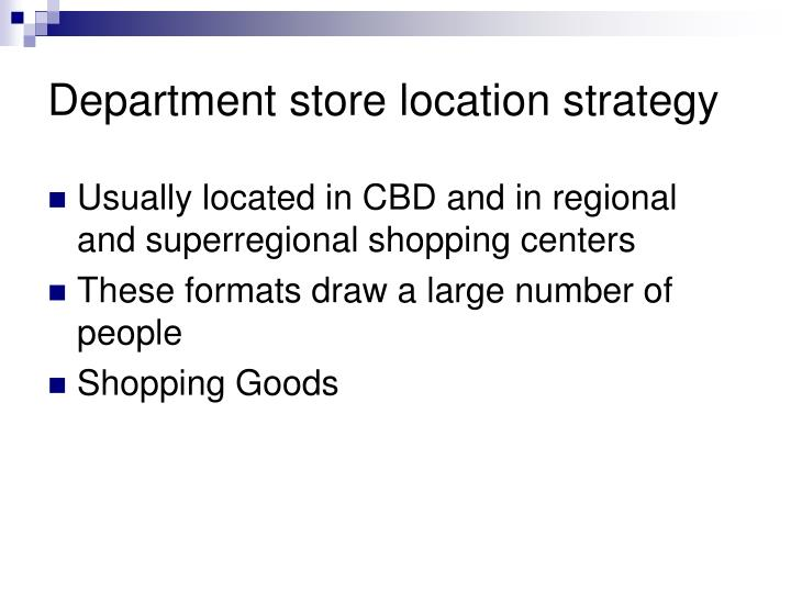 Department store location strategy