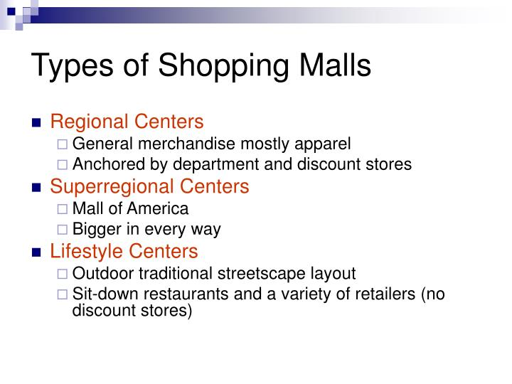 Types of Shopping Malls
