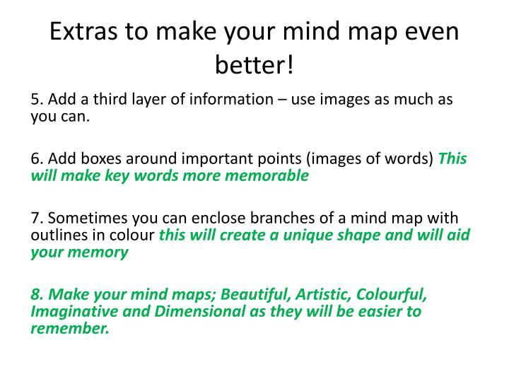 Extras to make your mind map even better!