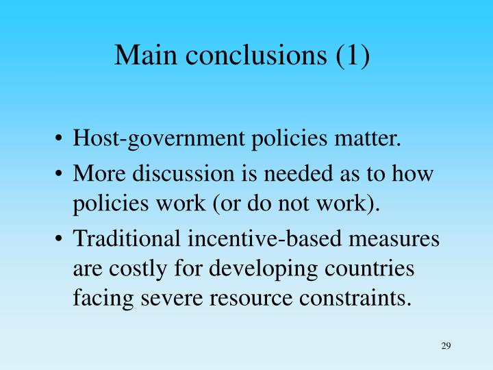 Main conclusions (1)