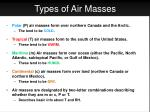 types of air masses