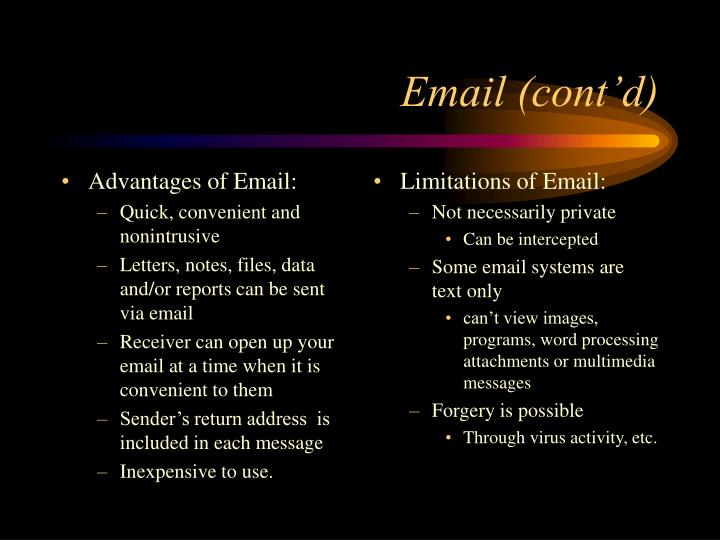 Advantages of Email: