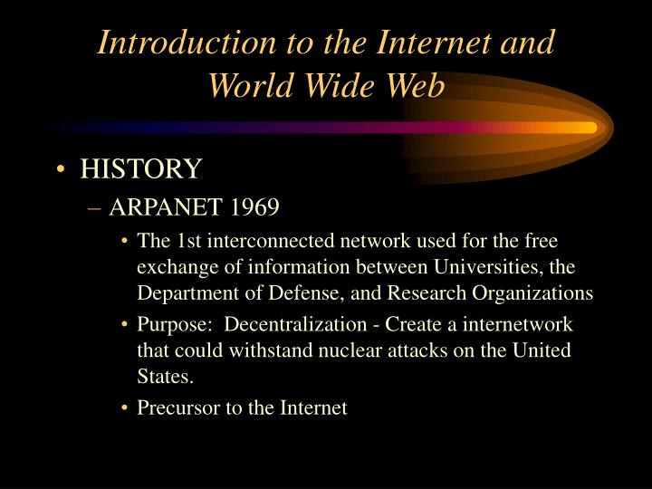 Introduction to the internet and world wide web