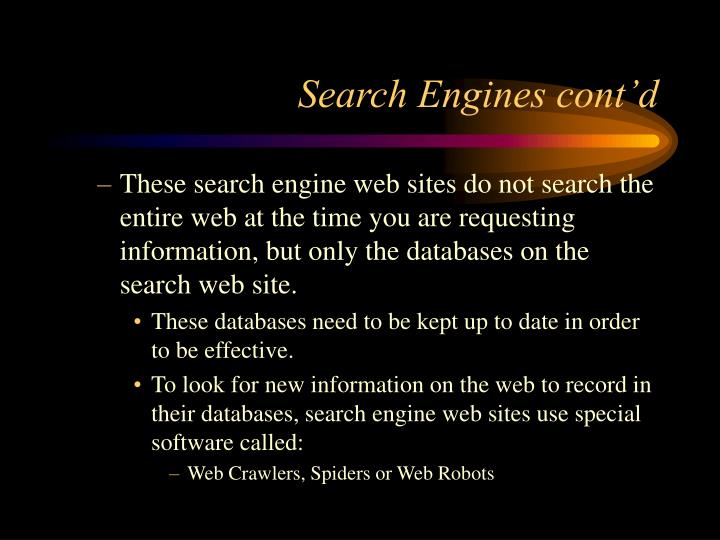 Search Engines cont'd