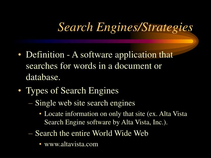 Search Engines/Strategies