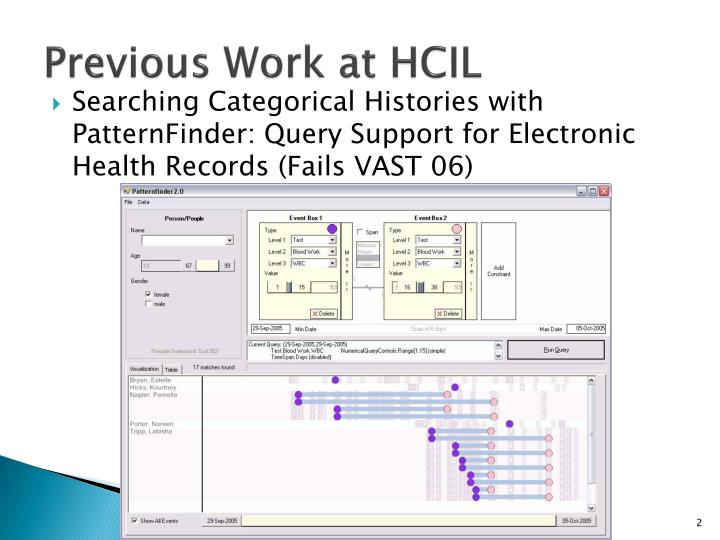 Previous work at hcil
