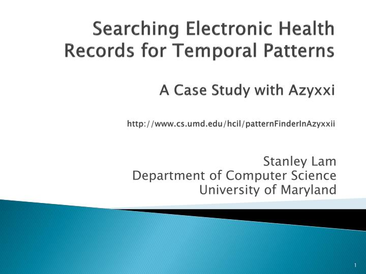 Searching Electronic Health Records for Temporal Patterns