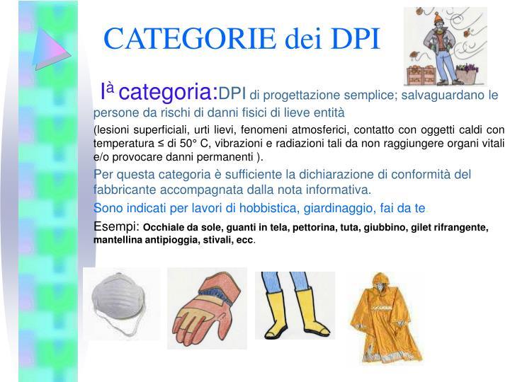 CATEGORIE dei DPI