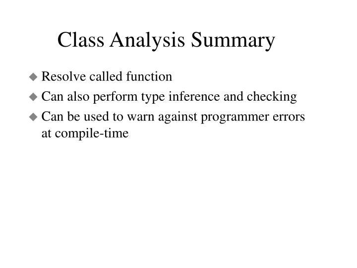 Class Analysis Summary