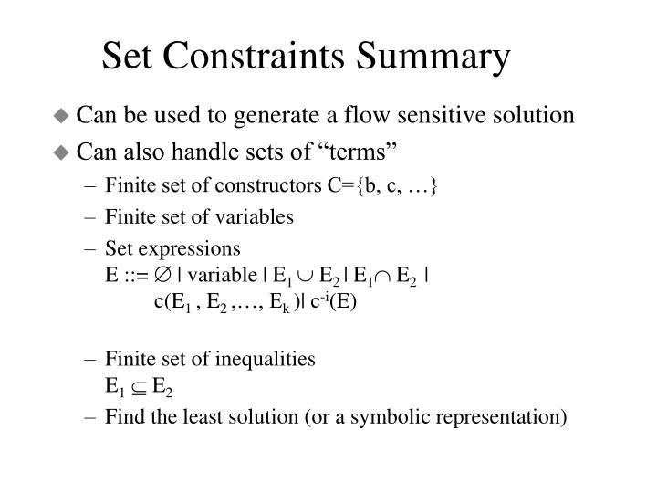 Set Constraints Summary
